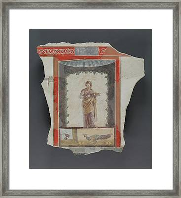 Fresco Depicting A Woman Maenad Holding A Dish Framed Print by Litz Collection