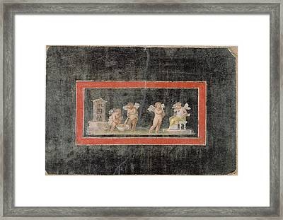 Fresco Fragment With Cupids And Psyche Making Perfume Framed Print by Litz Collection