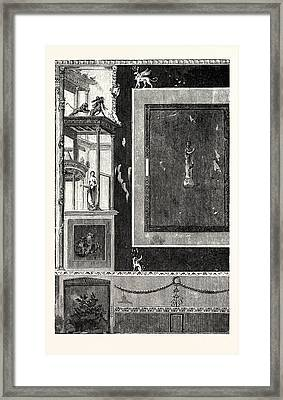 Fresco From The House Of Siricus At Pompeii Figures Framed Print by English School