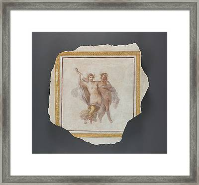 Fresco Panel Depicting Dionysos And Ariadne Unknown Italy Framed Print by Litz Collection