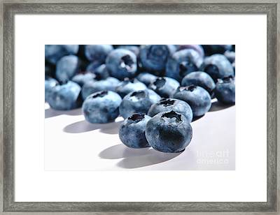 Fresh And Natural Blueberries Close Up On White Framed Print by Olivier Le Queinec