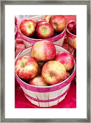 Fresh Apples In Buschel Baskets At Farmers Market Framed Print