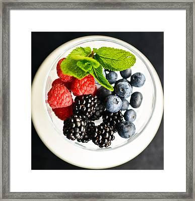 Fresh Berries On A Plate Framed Print by Anna Bryukhanova