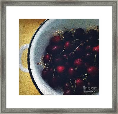 Fresh Cherries Framed Print by Linda Woods
