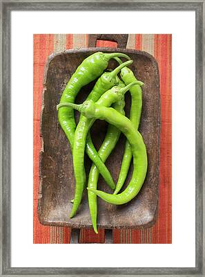 Fresh Chillies In Wooden Dish (overhead View) Framed Print