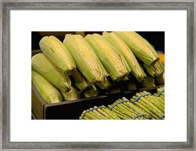 Fresh Corn On The Cob And Asparagus Framed Print by Keith Levit