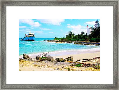 Fresh Creek Beach Framed Print by Carey Chen