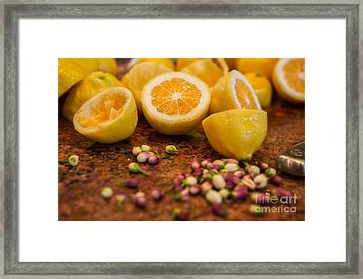 Fresh Cut Lemons With Blossoms Framed Print