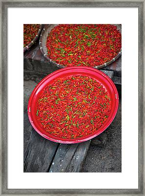 Fresh Dried Chilies At The Luang Framed Print by Micah Wright