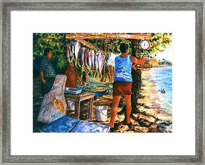 Fresh Fish Framed Print by Estela Robles