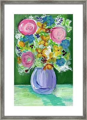 Fresh Flowers- Painting Framed Print by Linda Woods