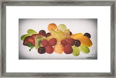 Fresh Fruit Salad Distressed Framed Print by Iris Richardson