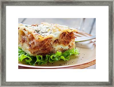 Fresh Homemade Lasagna Framed Print by Mythja  Photography