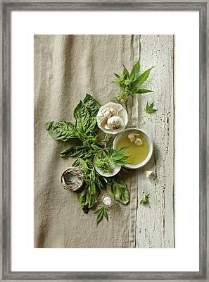 Fresh Ingredients With Marijuana Framed Print by Lew Robertson