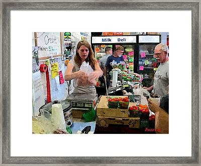 Fresh Market Scales Framed Print by Buzz  Coe