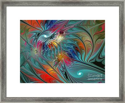 Fresh Mints And Cool Blues-abstract Fractal Art Framed Print by Karin Kuhlmann