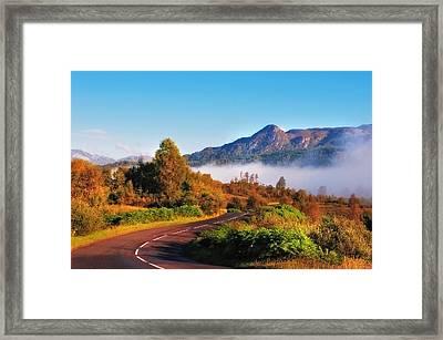 Fresh Morning Road Through The Trossachs National Park. Scotland Framed Print by Jenny Rainbow