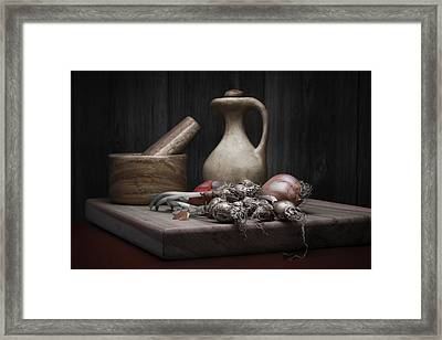 Fresh Onions With Pitcher Framed Print by Tom Mc Nemar