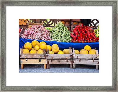 Fresh Organic Fruits And Vegetables At A Street Market Framed Print