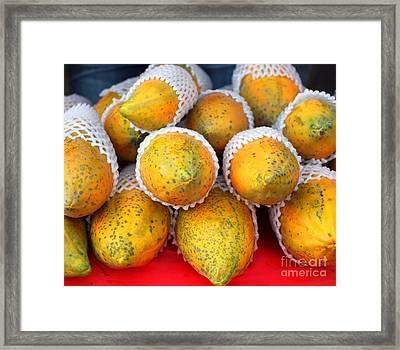 Fresh Papayas For Sale Framed Print by Yali Shi