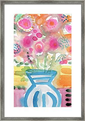 Fresh Picked Flowers In A Blue Vase- Contemporary Watercolor Painting Framed Print by Linda Woods