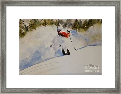 Framed Print featuring the painting Fresh Powder by Sandra Strohschein