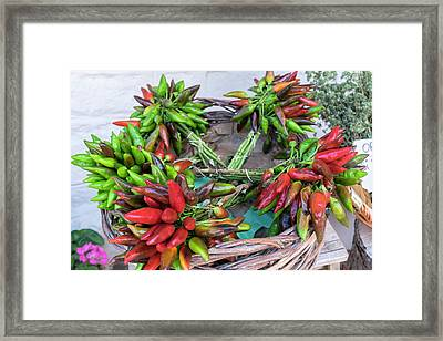 Fresh Red And Green Peppers For Sale Framed Print