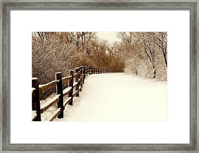 Fresh Snow Framed Print by Rosanne Jordan