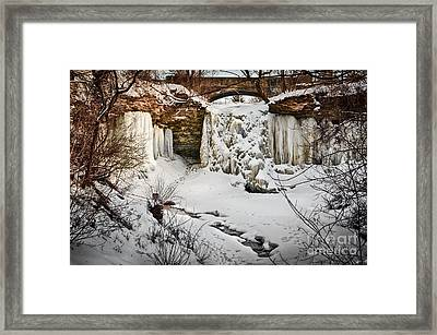 Fresh Snowfall At Wequiock Falls Framed Print by Mark David Zahn