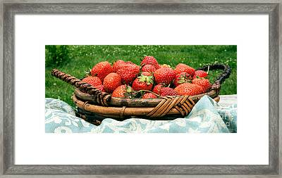 Fresh Strawberries In Basket Framed Print by Iris Richardson