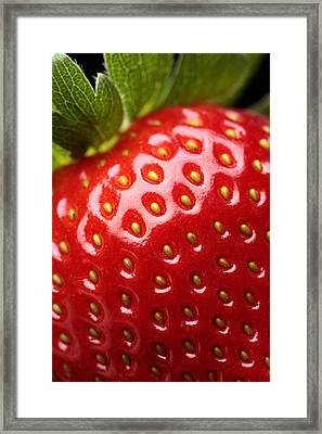 Fresh Strawberry Close-up Framed Print by Johan Swanepoel