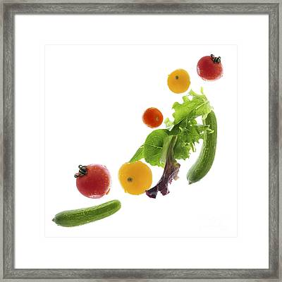 Fresh Vegetables Flying Framed Print