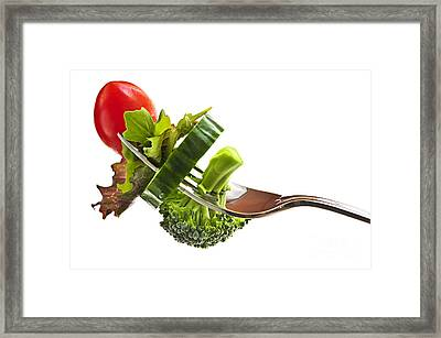 Fresh Vegetables On A Fork Framed Print by Elena Elisseeva