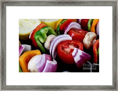 Fresh Veggie Kabobs On The Grill Framed Print