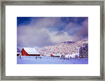 Freshly Fallen Snow On The Ranch Framed Print by Teri Virbickis
