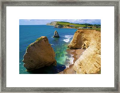 Framed Print featuring the digital art Freshwater Bay by Ron Harpham