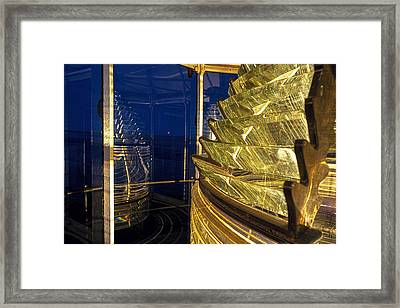 Fresnel Lens View Of Moonrise At West Quoddy Head Lighthouse Framed Print by Marty Saccone