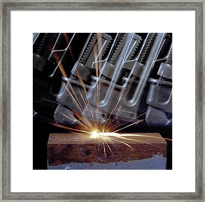 Frictional Thermite Reaction Framed Print by Crown Copyright/health & Safety Laboratory Science Photo Library