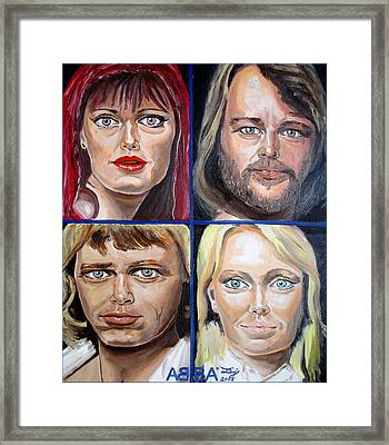 Framed Print featuring the painting Frida Benny Bjorn Agnetha by Daniel Janda
