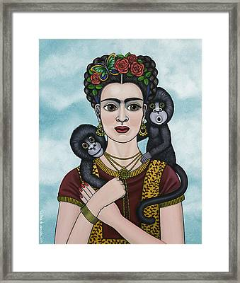 Frida In The Sky Framed Print by Victoria De Almeida
