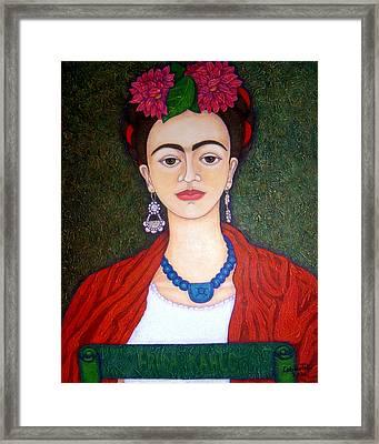 Frida Kahko Portrait With Dahlias Framed Print