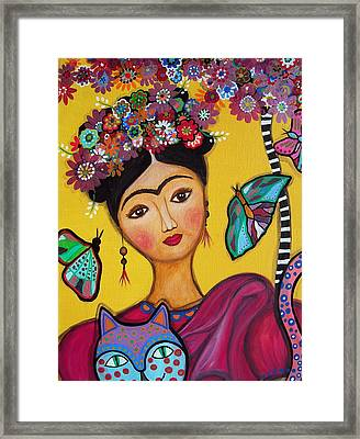 Framed Print featuring the painting Frida Kahlo And Her Cat by Pristine Cartera Turkus