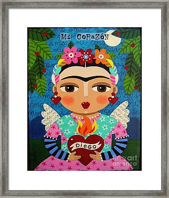 Frida Kahlo Angel And Flaming Heart Framed Print by LuLu Mypinkturtle