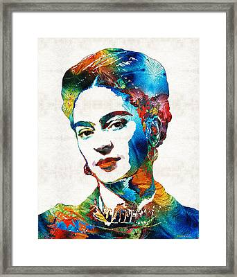 Frida Kahlo Art - Viva La Frida - By Sharon Cummings Framed Print by Sharon Cummings