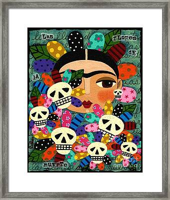 Frida Kahlo Day Of The Dead Flowers Framed Print