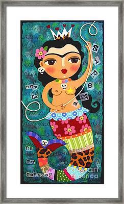 Frida Kahlo Mermaid Queen Framed Print by LuLu Mypinkturtle