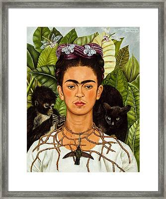 Frida Kahlo - Thorn Necklace And Hummingbird Framed Print