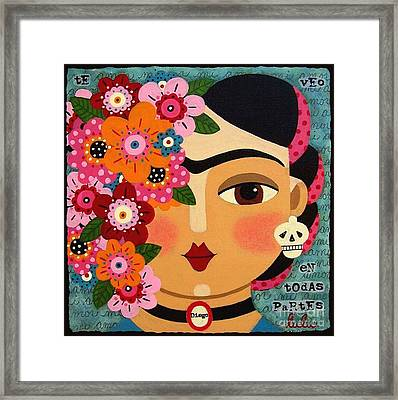 Frida Kahlo With Flowers And Skull Framed Print