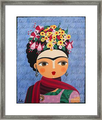 Frida Kahlo With Fuschias And Lantanas Framed Print by LuLu Mypinkturtle