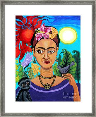 Frida Kahlo With Monkey And Bird Framed Print by Genevieve Esson